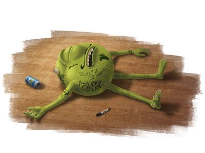 Mike Wazowski Learns His Limit pixar disney monsters university inc mike sully party fan art concept painting digital photoshop