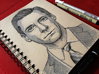 Don Draper Sketch sketch draw drawing pen ink marker mad men