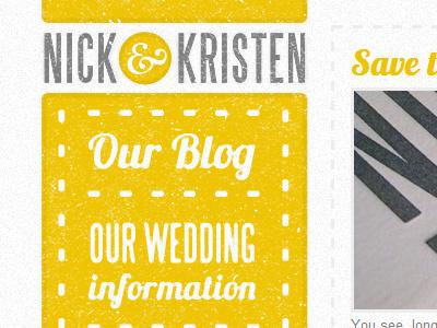 Wedding Website yellow grey distressed letterpress vintage