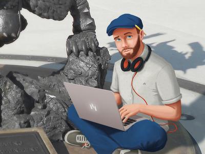 Digital Painting at Blizzard wacom photoshop painting self portrait digital painting