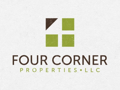 4 Corner Properties logo property icon simple clean 4 four square