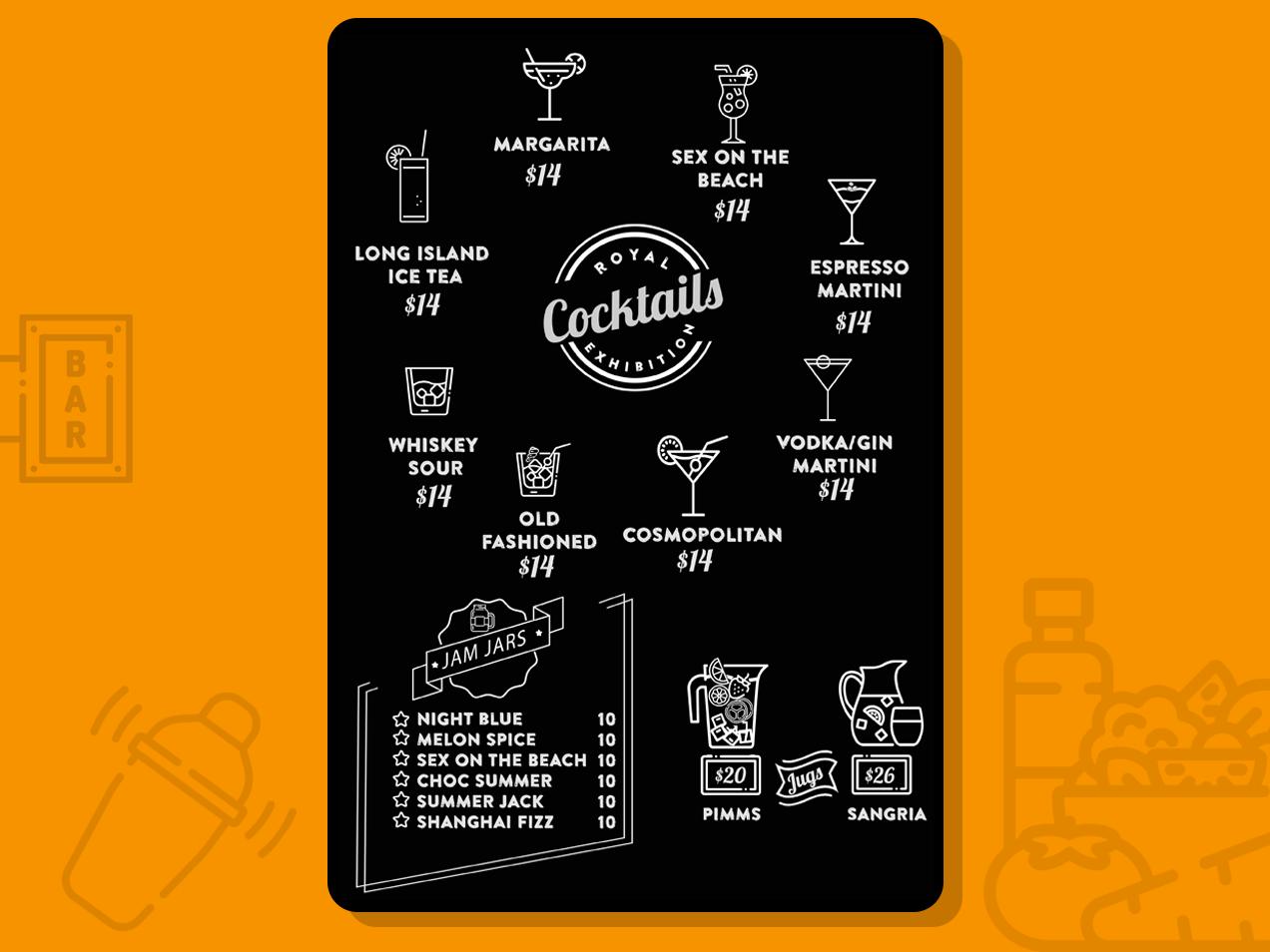 Cocktail Menu menu template ideation typogaphy hipster logo hipster illustration branding restaurant branding restaurants display menu card cocktail bar menu design menu