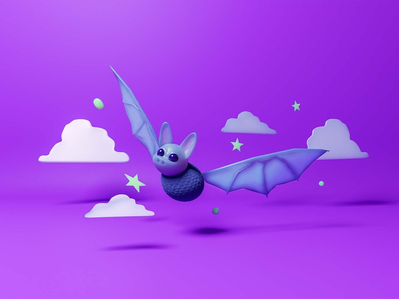 Bats are bae model blender3d blender cute animal 3d art 3d character design design graphic design illustration