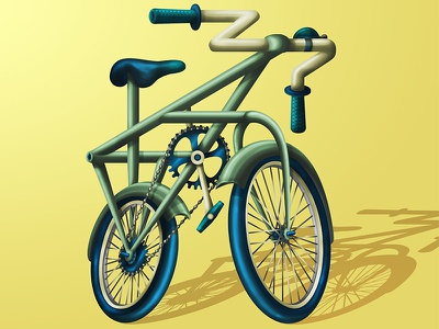The Challenge of Going Green bicicleta environment utopia impossible object green bike vector illustration digital art