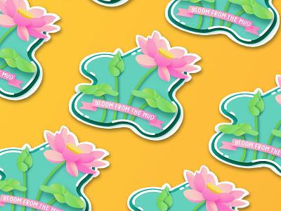 """Bloom from the Mud"" Lotus Sticker illustator graphic  design repeating sticker design sticker vector"
