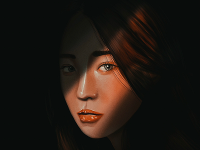 Portrait illustration shadow procreate digital painting portrait