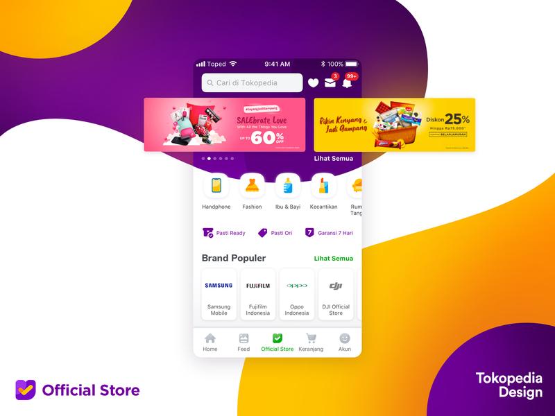 Tokopedia Official Store mockup ux tokopedia ui e-commerce ios mobile design app branding