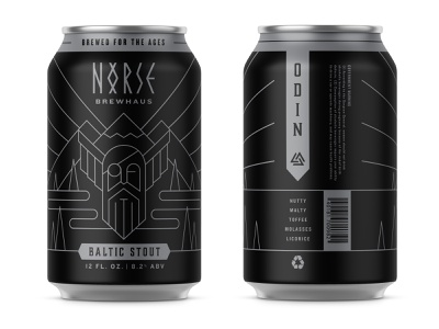 Norse Brewhaus – ODIN: Baltic Stout branding black silver packaging illustraion monoline nature pine rivers mountains gods odin viking norse nordic