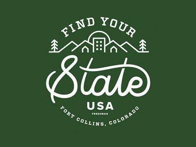 Find Your State – CSU Admissions Brochure cover fort collins cursive script typography trees town sunset state logo illustration green colorado