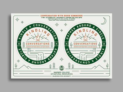 Warner College – Kindling Conversations invite red green csu colorado coaster letterpress mountains stars trees moon outdoors illustration