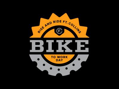 Bike to Work Day –Option 1 shine illustration logo colorado badge black gray orange sun cog work bike