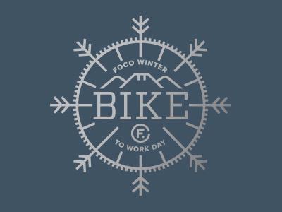 Bike to Work Day –Option 2 mountains illustration logo colorado badge navy silver snowflake snow tire bike