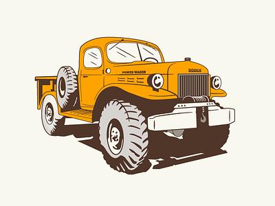 Fort Collins Mural - Detail 2 colorado awd offroad illustration vintage orange powerwagon truck dodge