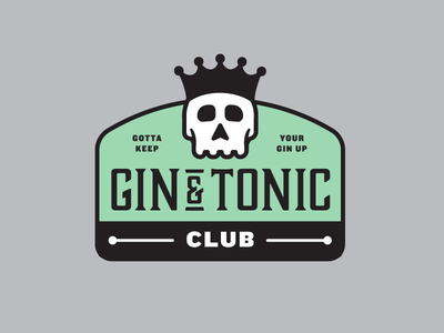 Gin & Tonic Club - Spring Sessions badge chin crown alcohol spring club green mint skull tonic gin