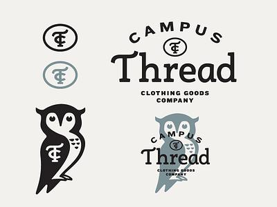 Campus Thread – WIP education collegiate clothing thread logo bird blue illustration monogram typography wisdom owl