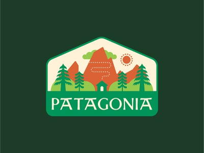 Concept: Patagonia – Monte Fitz Roy scandinavian style folkart badge logo patagonia summer outdoorsy trees cabin mountain fitz roy illustration