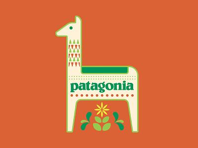 Concept: Patagonia – Guanaco design scandinavian style folkart red animal wildflower llama guanaco patagonia illustration badge logo