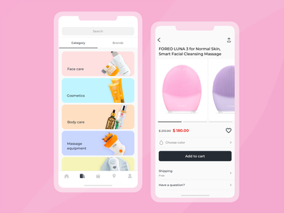 Catalog and product card for a beauty device store mobile beauty shop ecommerce app ios android ui design