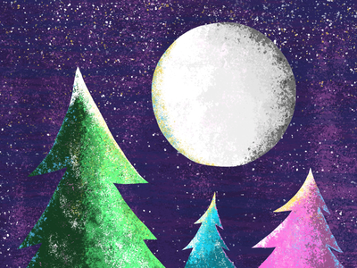 Winter procreate snow night whimsical winter color apple pencil ipad pro texture illustration