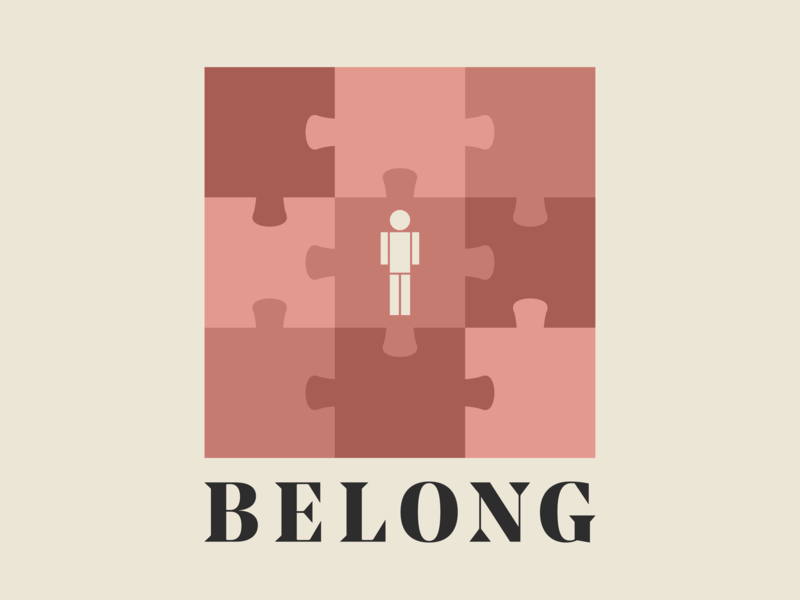 BELONG simple minimal puzzle pink shapes art logo church typography graphic vector design