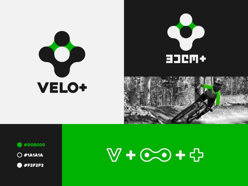 VELO+ idolize irakli dolidze identity brand logo symbol mark plus bicycle v velo