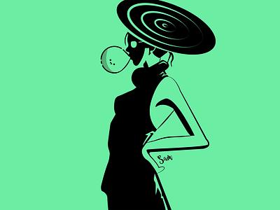 Cool Girl cute art graphics balloon girl cool black  white illustrator vectorart book cover design branding ui design vector poster design landing page poster graphic design illustration