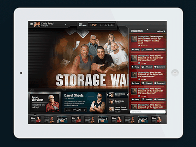Storage Wars - 2nd Screen Experience artdirection visualdesign uiux interactivedesign storagewars mobileapp ipad secondscreen