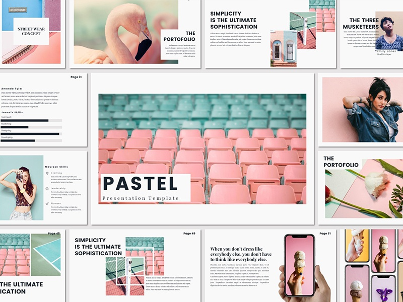 PASTEL - Presentation Template interior design poppins diagram chart timeline portofolio popular lookbook keynote powerpoint free template freebies
