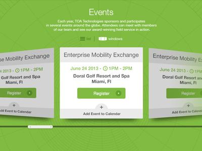 Event interface ui design interface green navigation event filters