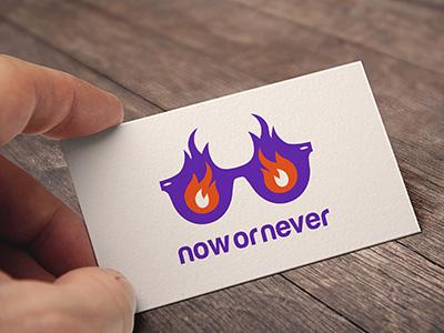 Now or Never logo mark vector icon branding identity logo