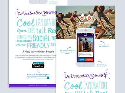 Now or Never landing page visual design identity website app