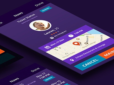 Now or Never app interface flat map visual design ui app