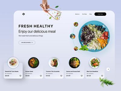Restaurant Landing Page Design healthy food website food minimal design uiux web landing page