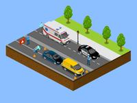 Isometric Road Accident Scene