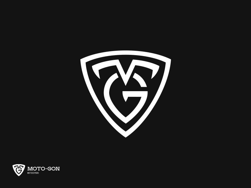 MOTO-GON motorbike motorcycle monogram emblem symbol mark logotype logo identity