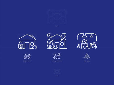 Pictograms - House Insurance branding icon ux insurance house grid web digital illustration vector icons iconography pictogram design ui