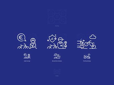 Pictograms - Bike Insurance bike grid pictogram digital ux vector logo insurance illustration iconography design branding ui