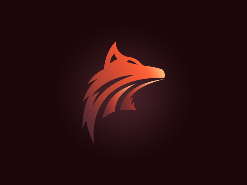 orange gradient minimalist wolf