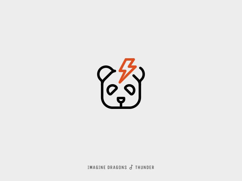 Icon Cover (Imagine Dragons, Thunder) lightning thunder panda icon album cover