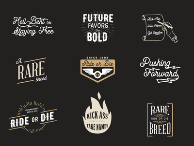 Creative Ranch Flash Sheet creative typography freedom ride or die tattoos flash patches ranch
