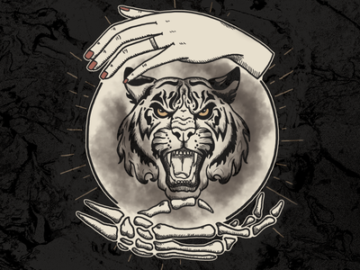 Future Favors the Bold brushes photoshop fog marble texture grit black and white astropad illustration tattoo hand skeleton crystal ball tiger