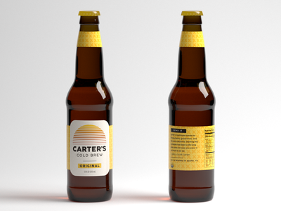Carter's Cold Brew Packaging story design art direction logo original sunrise pattern yellow bottle glass beer packaging cold brew coffee