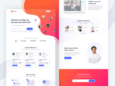 home - mentory.me mentorship pattern abstract page landing home mentor animation app ui web startup typography illustration website design