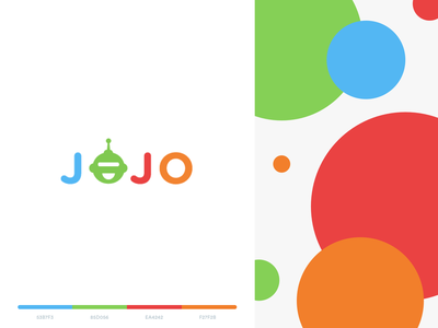 jojo - branding mark logo tech ai ml chatbot colors happy robot illustration web mobile story chat bot jojo kid app logo branding