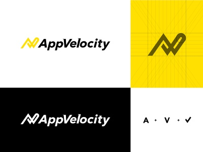 Appvelocity - Logo Design software crm saas check web grid logo symbol it mark design av identity startup velocity iot enterprise services technology company ios developement app branding logo inspiration