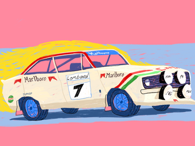 Ford 70's rally ford rally rs1800 illustration