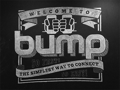 Bump entryway chalk drawing chalkboard signage bump hands logo