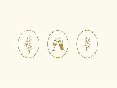 Invitation Suite Icons cheers leaf oval vector illustrations branding design illustration
