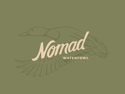 Nomad Logo typography bird midwest waterfowl hunting ducks hand lettering vector graphic design illustration logo