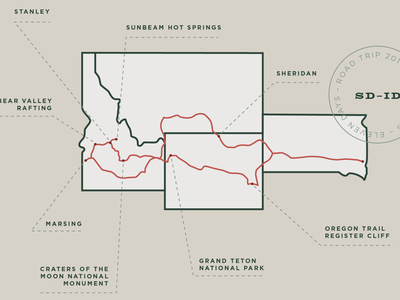 Tour of the West typography design map